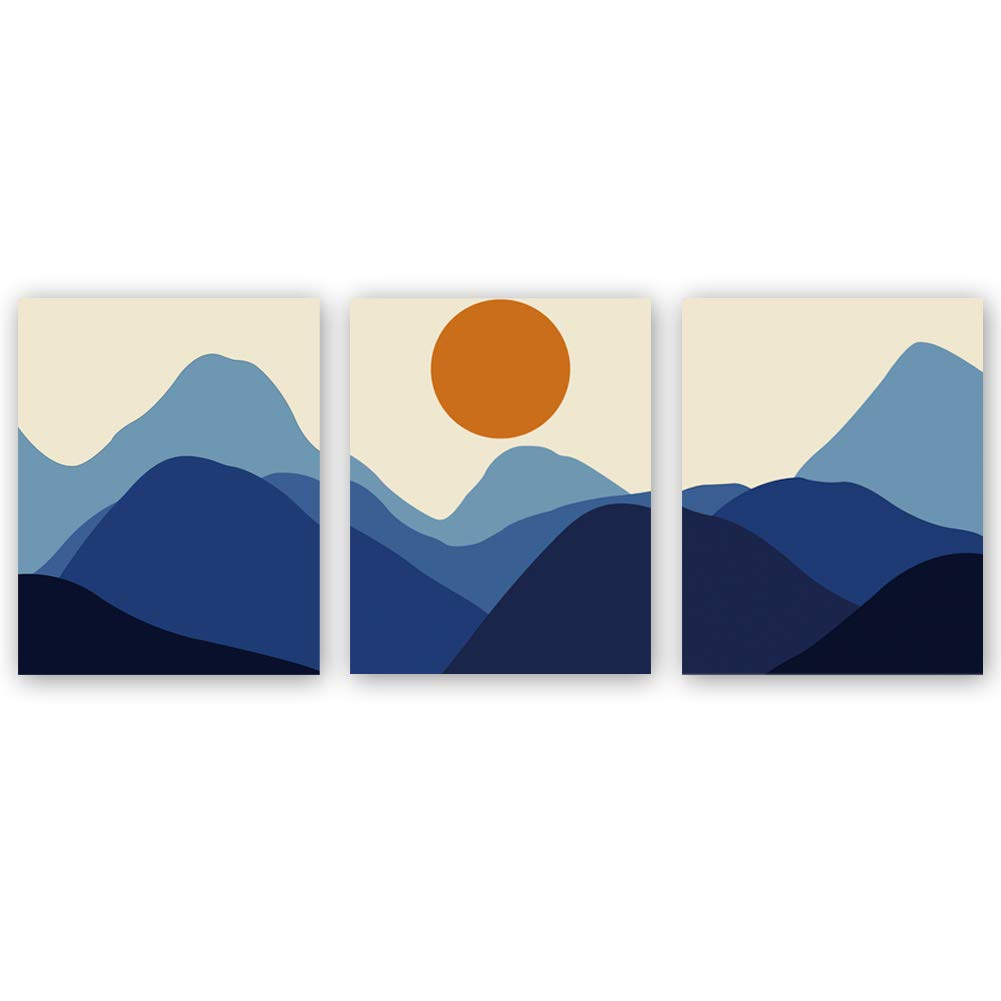 CHDITB Unframed Abstract Sunrise Art Print Modern Mid Century Canvas Art Poster,Set of 3(8''x10'') Rolling Mountains Art Painting,Landscape Art for Living Room Wall Decor