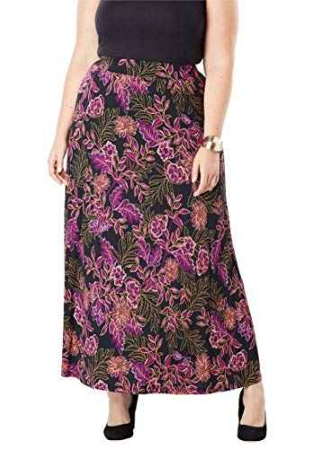 's Plus Size Everyday Knit Maxi Skirt - True Grape Traced Floral, 22/24 ()