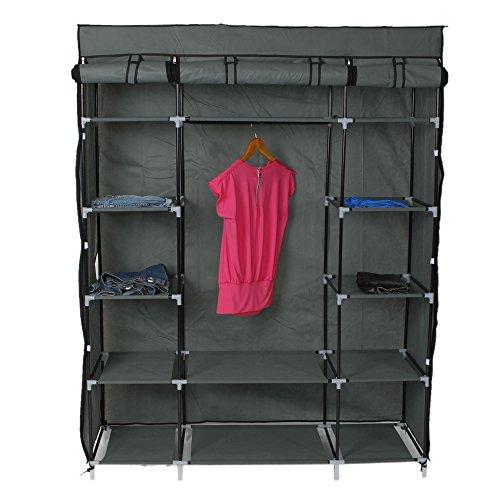 Soogo 5-Layer 12-Compartment Non-Woven Fabric Wardrobe Portable Closet Closet Storage Gray by Soogo