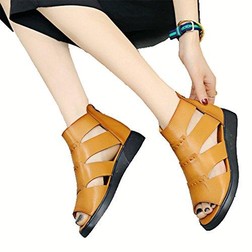 ファッションサンダル レディース 夏 ジッパー ヒールサンダル 安定感 セクシー 歩きやすい ブラック イエロー