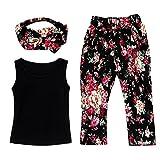 DaySeventh Girls Sleeveless Shirt/Tops + Floral Pants + Hair Band Set Clothes (6/7 Tag 130, Black)