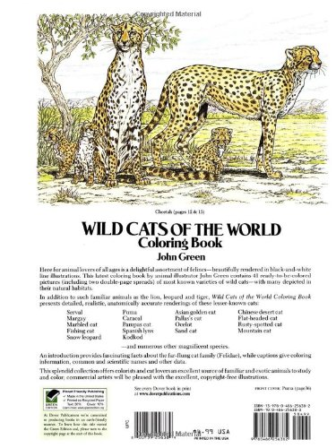 Wild Cats Of The World Coloring Book Dover Nature John Green Books 9780486256382 Amazon