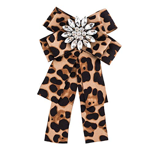 DDLLA Multi-Layer Flannel Bow Pre-Tied Ribbon Cloth Brooch Pins Jewelry Women's Accessories for Women Gifts for Women Cute Pins Brooch Pins for Women Pins for Jackets,Leopard ()