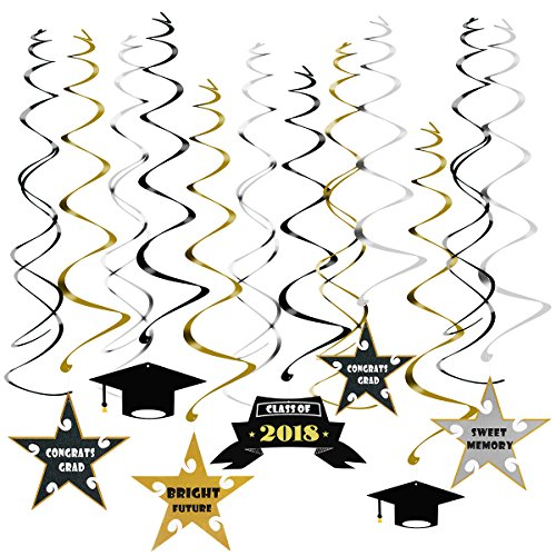 Price comparison product image PBPBOX Graduation Decorations 30 Pcs 2018 Hanging Swirl and Celebration Card