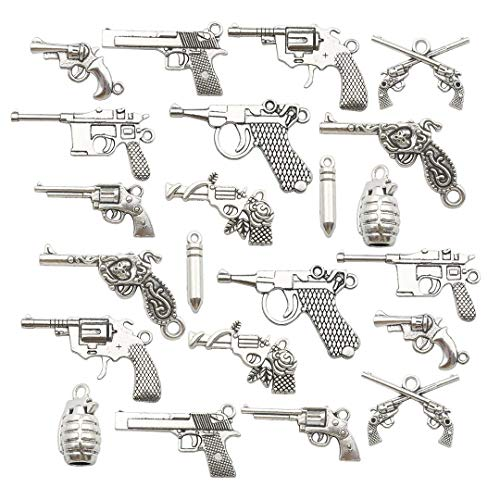 Youdiyla 100g Pistol Revolver Grenade Weapon Charms Collection, Mix Antique Silver Metal Pendant Supplies Findings for Jewelry Making (HM115) - Mix Silver Collection