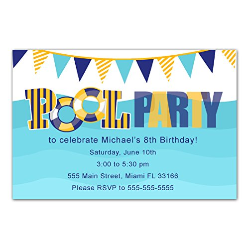 30 Invitations Pool Birthday Party Personalized Cards Photo Paper