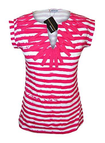 Nuevo para mujer parte superior diseño a rayas T Shirt Blusa Rosa Blanco ex-catalogue tema tamaño 10