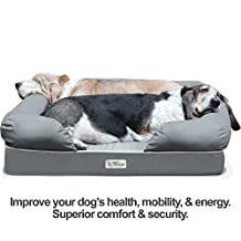"PetFusion Ultimate Dog Bed & Lounge. (Large Gray, 36 x 28 x 9.5""). Premium Edition w/ Solid 4"" Memory Foam"