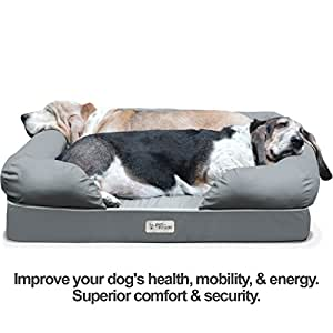 """PetFusion Ultimate Solid 4"""" Memory Foam Dog Bed for Medium & Large Dogs (36x28x9"""" orthopedic sofa couch; Gray). Replacement covers & blankets also avail"""