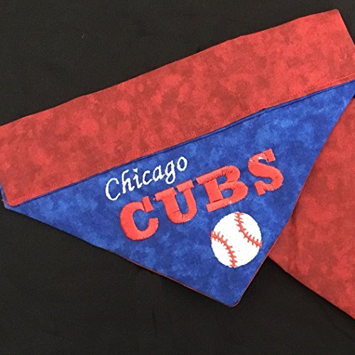 Chicago Cubs Dog Bandana / Over the Collar Cubs Dog Bandana / Embroidered Personalized Dog Bandana (All Sizes) ()