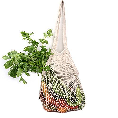 NetNeed Cotton Reusable Net Shopping Tote String Bag Organizer for Grocery Shopping & Beach, Storage, Fruit, Vegetable and Toys -Lightweight & Sturdy Mesh Produce bag(15 x 19', Natural/Long Handle)