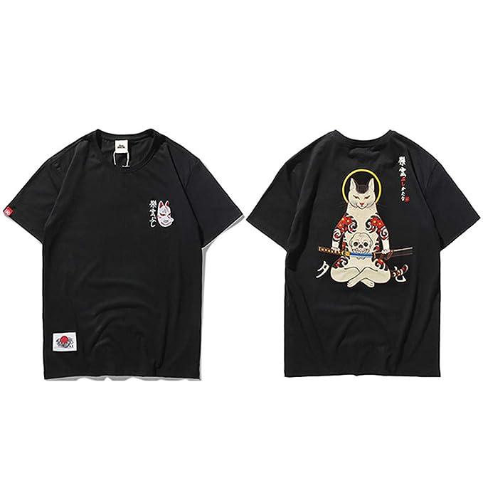 Hombres Harajuku Japonés Ninja Cat Skull Hip Hop Streetwear ...