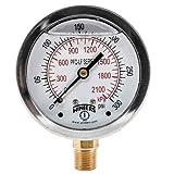 """Winters PFQ807LF PFQ-LF Series Pressure Gauge, 2.5"""" Dial Size, 1/4"""" NPT, 0/300 psi/kpa, Glycerin Filled"""