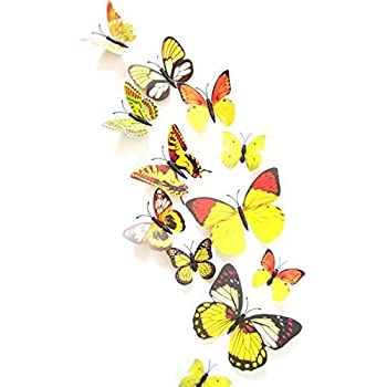 Amazon.com: 12PCS 3D Yellow Butterfly Stickers Card Making Stickers ...