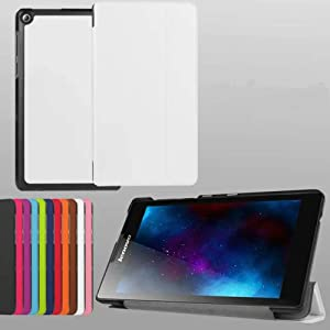 for Lenovo Tab 2 A7-10 A7-20 Case, Ultra Slim Lightweight Folding Stand Cover Leather Case for Lenovo Tab2 A7-10F A7-20F Android 7 inch Tablet (White)