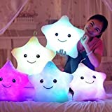LIVDAT Lucky Star Shape Light Up Glowing LED Pillow Plush Stuffed Toys Soft Cushion Decorative Throw Pillows (Color May Vary)