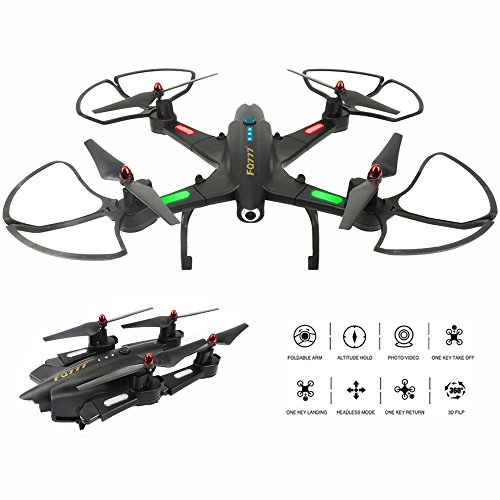 Drone with Camera Live Video FPV WiFi Drones RC Quadcopter Headless Altitude Hold 2.4G 4CH 6 Axis Remote Control Foldable Helicopter One Key Return Gravity Sensor