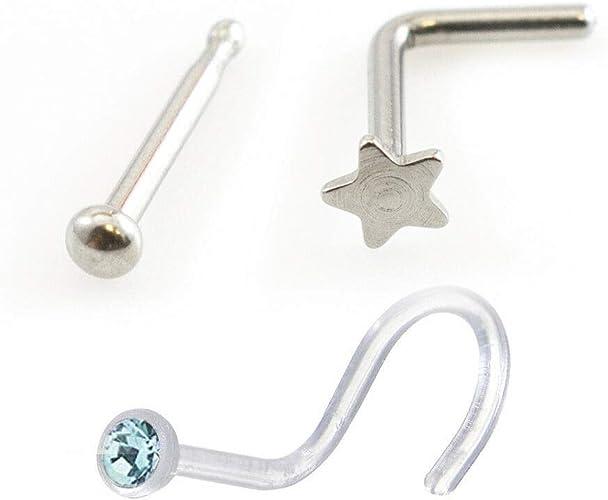 Pierce Plex Nose Screw Star Design Nose Bone and Screw Retainer with Cubic Zirconia Pack of Three 22g