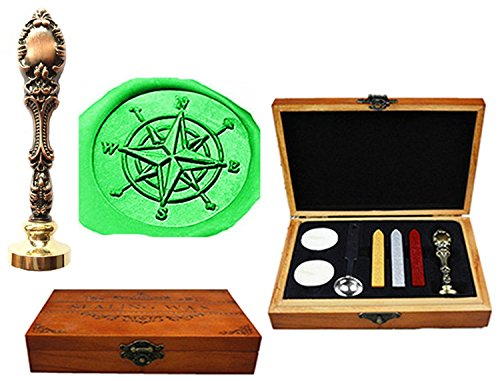 Luxury Compass (MNYR Compass Luxury Wood Box Red Brass Metal Peacock Wedding Invitations Gift Cards Paper Stationary Envelope Seals Custom Logo Wax Seal Sealing Stamp Wax Sticks Melting Spoon Wood Gift Box Kit)