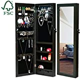 EMONIA LEDs Jewelry Cabinet Armoire with Full Length Mirror,Lockable Jewelry Organizer Wall/Door Mounted with Hanging Hook,Rings Earrings Bracelets Storage Box Necklace Holder (Brown)