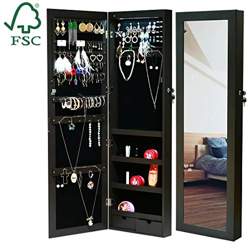 EMONIA LEDs Jewelry Cabinet Armoire with Full Length Mirror,Lockable Jewelry Organizer Wall/Door Mounted with Hanging Hook,Rings Earrings Bracelets Storage Box Necklace Holder -
