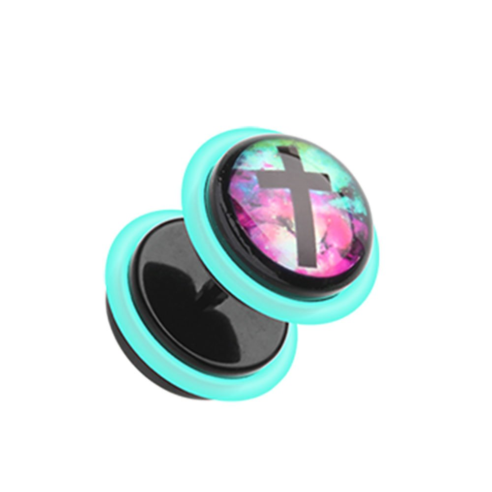 Inspiration Dezigns 16G Galaxy Cross Acrylic Fake Plugs with O-Rings (Sold as a Pair) by Inspiration Dezigns
