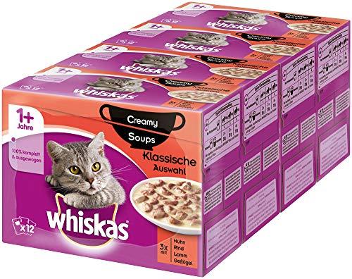 Whiskas 1 + Creamy Soups Katzenfutter – Hochwertiges Nassfutter – Portionsbeutel à 85g, verschiedene Sorten