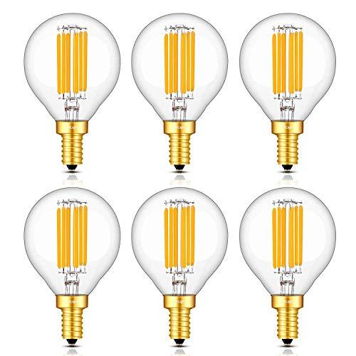 CRLight 6W Dimmable LED Candelabra Bulb 65W Equivalent 700LM Warm White 2700K, E12 Base Vintage G16(G50) Edison LED Globe Bulb, Chandelier Ceiling Fan Bathroom Vanity Mirror Light Bulbs, 6 Pack
