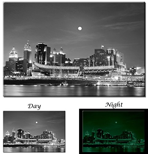 Picture Sensations Cincinnati Ohio Downtown Black and White City Skyline - Glow in the Dark Canvas Art Print - 45