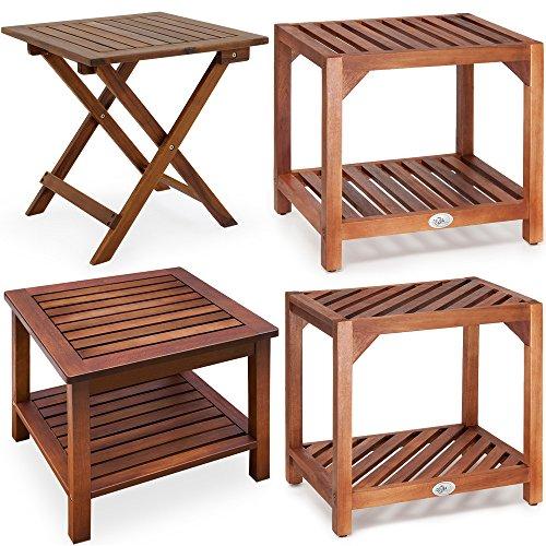 Beistelltisch Klapptisch Holztisch Gartentisch Kaffeetisch Bistrotisch aus Akazienholz 46 x 46cm braun