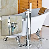 59 inch free standing tub - Zovajonia Waterfall Spout Bathtub Shower Faucet Floor Mounted Mixer Tap Free Standing Tub Filler with Hand Shower,Chrome Finish