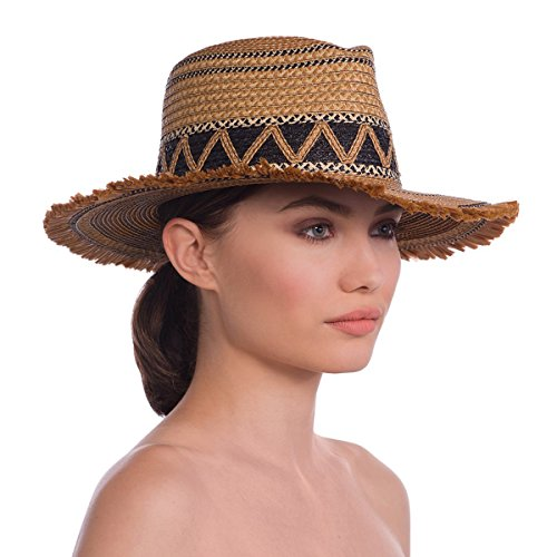 Eric Javits Luxury Fashion Designer Women's Headwear Hat - Lily - Natural/ Black Mix by Eric Javits