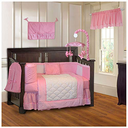 BabyFad Minky Pink 10 Piece Baby Crib Bedding Set