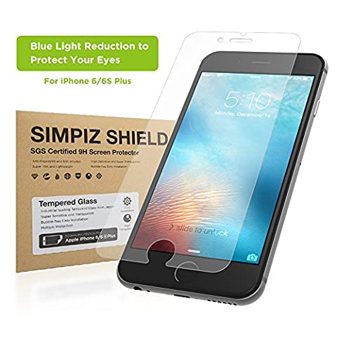 iPhone 6/6S Plus Screen Protector, Simpiz Crystal Clear Thinnest Shatterproof Flexible Glass Screen Cover for iPhone 6 Plus & iPhone 6S Plus, - Blue Light Cut for Eye (Iphone 4s Privacy Screen 3m)