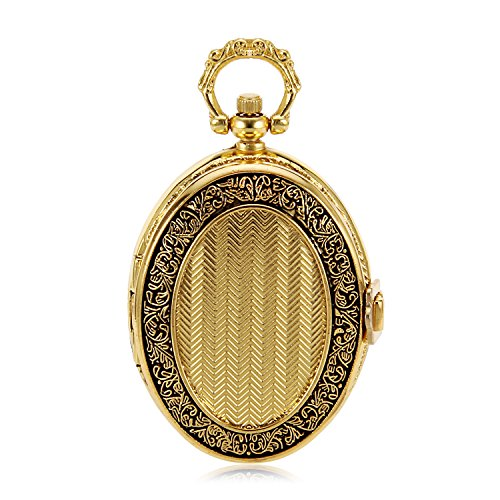 Oval Gold Mechanical Pocket Watch Jewelry Vintage Antique Watch Imperial Royal Style Luxury Gift Watch Mens Pocket Watch W/Chain from SHUHANG