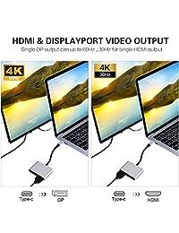 Adaptador tipo C a HDMI DisplayPort de doble salida 4K 60 Hz, convertidor Topoint USB C a HDMI DP para MacBook MaBook Pro, Chromebook Pixel, Dell XPS
