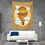 smallbeefly Cartoon Wall Tapestry Hot Air Balloon in The Sky Dreamy Clouds Fantasy Surreal Retro Adventure Home Decorations for Living Room Bedroom 54W x 84L INCH Pale Brown Multicolor