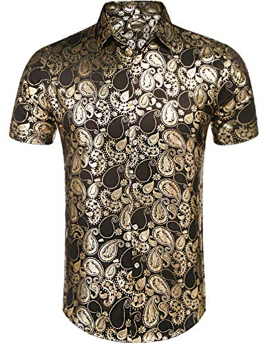 Daupanzees Mens African Dashiki Print Shirt Short Sleeve Fashion Luxury Design Street Wear Button Up Casual Shirts Gold -