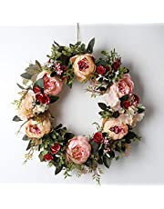 Peony Spring Wreath for Front Door, Handmade Pink Floral Wreath Artificial Spring Garland Wreath for Front Door Wall Wedding Party Home Deco