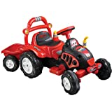 Ride On Toy Tractor and Trailer, Battery Powered Ride On Toy by Lil' Rider  – Ride On Toys for Boys and Girls, For 3  – 7 Year Olds (Red and Yellow)