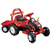 Lil' Rider Ride On Toy Tractor and Trailer, Battery Powered Ride On Toy by Ride On Toys for Boys and Girls, For 3 – 7 Year Olds (Red and Yellow)