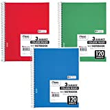 """Mead Spiral Notebook, 3 Subject, College Ruled Paper, 120 Sheets, 10-1/2"""" x 8"""", Color Selected For You (05748)"""