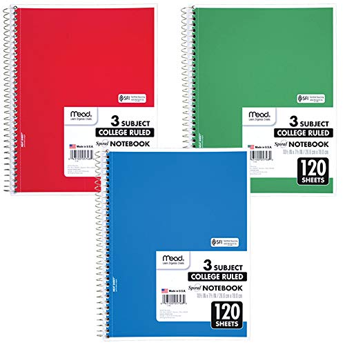 Mead Spiral Notebook, 3 Subject, College Ruled Paper, 120 Sheets, 10-1/2