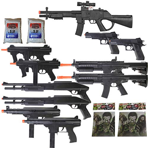 11 Airsoft Gun P2338 Sniper Rifle Package + Shotguns + Pistol + Tec9 SMG + Targets BBS (Best Airsoft Rifle Under 100)