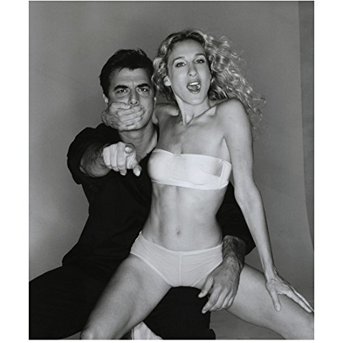 Sex and the City Sarah Jessica Parker as Carrie Bradshaw and Chris Noth as Mr. Big Posing Seductively Black and White 8 x 10 Inch Photo