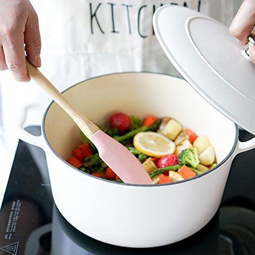 Color espátula de silicona Shabu-Shabu antiadherente pala de arroz de alta temperatura pala hogar sopa cuchara rascador crema 5 piezas rosa: Amazon.es: ...