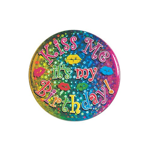 Kiss Me It's My Birthday Button Party Accessory (1 count) -