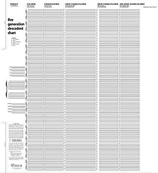 Amazon.com: TreeSeek® 5 Generation Descendants Chart | Blank ...