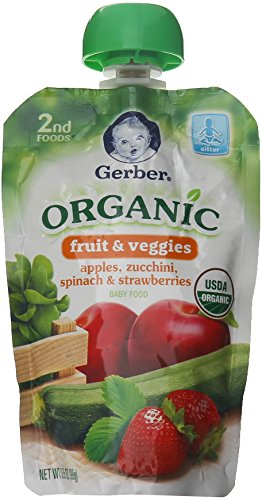 Gerber Organic 2nd Foods Fruits & Veggies - Apple Zuchini Spinach Strawberry - 3.5 oz - 6 pk ()