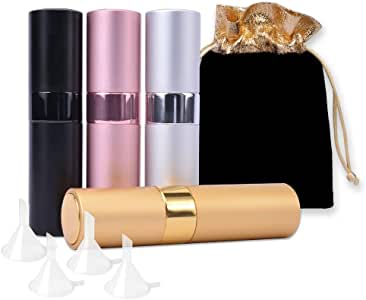 4Pcs Refillable Perfume Bottles with 4 Funnels,8ml Portable Empty Perfume Spray Bottle, Luxsego Mini Twist-Up Perfume Atomizer(Gift Bag Included)